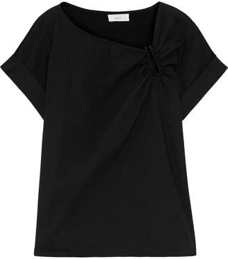 A.L.C. Abbey Ruched Linen-blend T-shirt