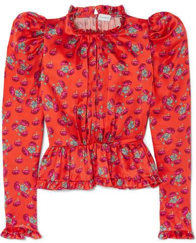 Magda Butrym Normandy Ruffle-trimmed Floral-print Silk-satin Peplum Blouse - Bright orange