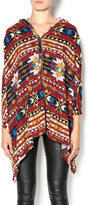 Sweet Claire Red Tribal Poncho