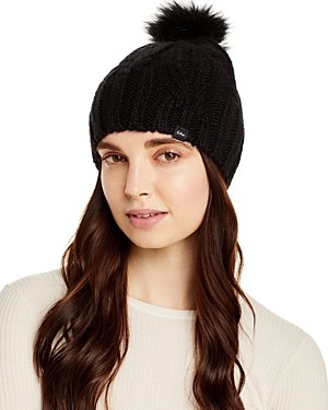 Echo Cable Knit Hat with Faux Fur Pom Pom