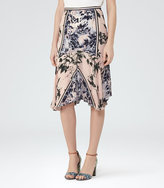 Reiss Penelope Floral Silk Skirt