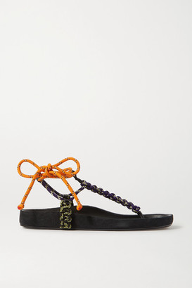 Isabel Marant Loreco Leather-trimmed Braided Sandals - Navy