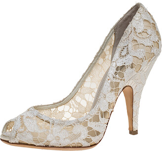 Dolce & Gabbana Off-white Lace And Satin Peep Toe Pumps Size 39.5