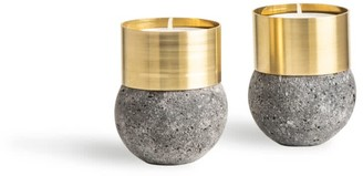 And Jacob Brass Candle Holder Volcanic Stone