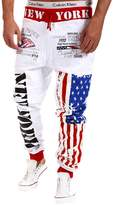 Pishon Men's Jogger Pants Casual Flag Pattern Hip Pop Jogging Cotton Sweat Pants