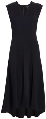 St. John Cady V-Neck High-Low Panel Dress