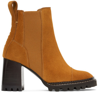 See by Chloe Tan Suede Mallory Heeled Boots