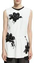 Derek Lam Sequined Lily Sleeveless Peplum Top, White
