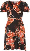 Dorothy Perkins Petite Red Oriental Print Wrap Dress