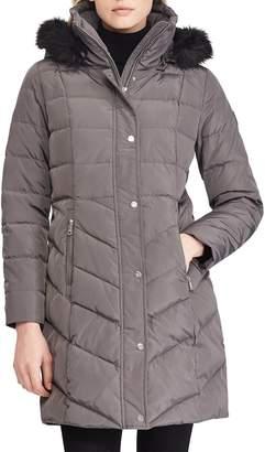 Lauren Ralph Lauren Faux Fur Trim Down Jacket
