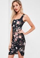 Missguided Tall Exclusive Black Floral Print Scuba Midi Dress