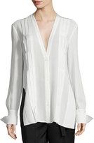Edun Long-Sleeve Pintuck Tunic, Ivory