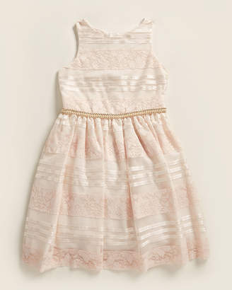 Badgley Mischka Belle Girls 7-16) Pink Floral Lace & Sequin Stripe Dress