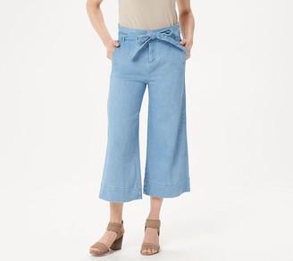 Du Jour Petite Paper Bag Waist Denim Culotte Crop Pants