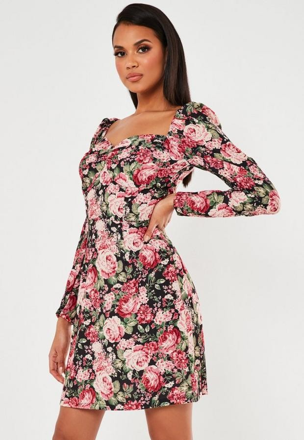 Missguided Petite Pink Floral Print Sweetheart Neck Shift Dress