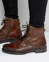 Aldo Giannola Lace Up Boots In Tan Leather