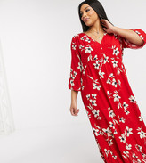 New Look Plus Curve tiered maxi dress in red floral