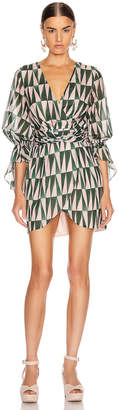 PatBO Geo Print Cotton Mini Dress in Green & Pink   FWRD