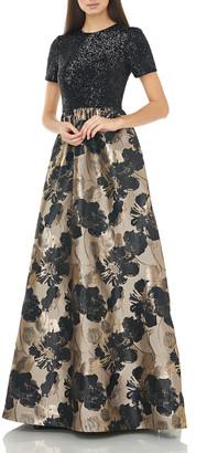 Carmen Marc Valvo Short-Sleeve Sequin-Bodice with Pleated Floral Jacquard Skirt