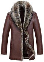 Jinmen Men's Sheepskin Leather Jacket Fashion Raccoon Fur Collar Wool Lining Long Coat (3X-Large, )