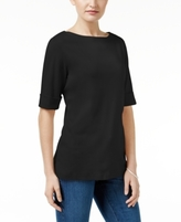 Karen Scott Petite Elbow-Sleeve Cotton Boat-Neck Top, Created for Macy's