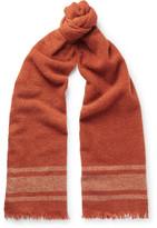 Brunello Cucinelli Striped Cashmere-blend Scarf - Orange