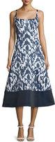 Theia Sleeveless Ikat Fit & Flare Midi Dress