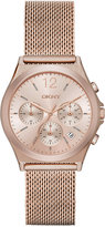 DKNY Women's Chronograph Parsons Rose Gold-Tone Stainless Steel Mesh Bracelet Watch 38mm NY2486