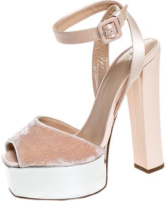 Giuseppe Zanotti Beige Satin And Velvet Open Toe Platform Ankle Strap Sandals Size 38