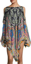Etro Cold-Shoulder Printed Coverup Poncho, One Size
