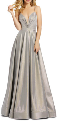 Mac Duggal Metallic Plunging Bustier A-Line Gown