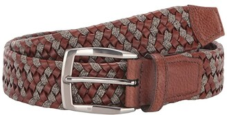 Torino Leather Co. 35 mm Braided Leather Linen Stretch (Cognac/Navy) Men's Belts