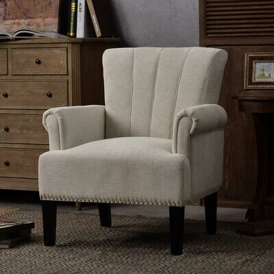 Thumbnail for your product : Red Barrel Studio Accent Rivet Tufted Polyester Armchair ,Navy Blue Body Fabric: Cream Polyester