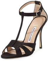 Manolo Blahnik Dioniga Satin 105mm Sandal, Black