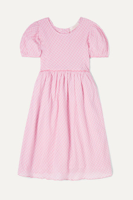 LoveShackFancy Kids Kids - Holly Checked Cotton-voile Dress - Pink
