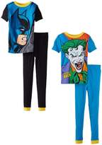 Komar Kids DC Comics Big Boys' Batman 4 Piece Cotton Pajama Set, Multi