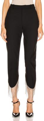 Area Crystal Fringe Trouser in Black | FWRD