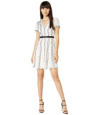 BCBGMAXAZRIA Women's Short Sleeve V-Neck Dress