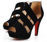 WHENOW Women's Peep Toes Dance Shoes Sexy Platform Gladiator Shoes EU 39