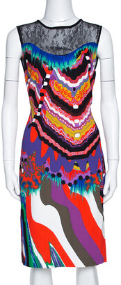 Roberto Cavalli Multicolor Abstract Printed Stretch Crepe Lace Panel Shift Dress M