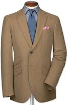 Classic Fit Tan Checkered Luxury Border Tweed Wool Jacket Size 36