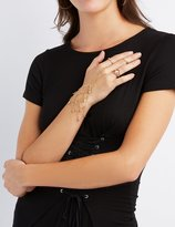 Charlotte Russe Embellished Hand Chain & Stacking Rings - 3 Pack