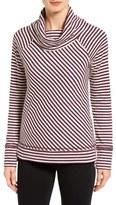 Caslon Stripe Cowl Neck Sweatshirt (Regular & Petite)