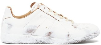 Maison Margiela Replica Bianchetto-painted Leather Trainers - White Multi