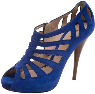 Fendi Cobalt Blue Suede Cut Out Booties Size 37