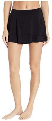 Miraclesuit Layered Ruffle Skirt (Black) Women's Swimwear