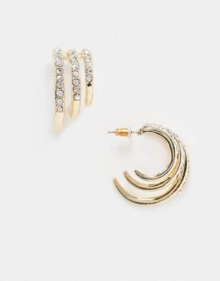 ASOS DESIGN hoop earrings in graduating triple row in gold tone