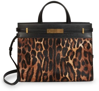 Saint Laurent Small Manhattan Leopard-Print Calf Hair & Leather Satchel