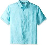 Cubavera Cuba Vera Men's Big and Short-Sleeve 100% Linen Cross Dyed Woven Shirt