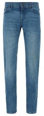 HUGO BOSS Regular Fit Jeans In Mid Blue Super Stretch Denim - Blue